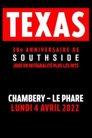 Affiche Texas 30e anniversaire de southside concert spectacle tournée Le Phare Grand Chambéry